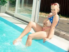 blonde pornstar Angel Wicky at the pool